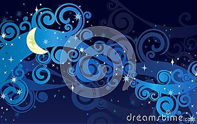 ciel toil de nuit avec la lune jaune photos stock image 26428513. Black Bedroom Furniture Sets. Home Design Ideas