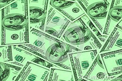 Cientos arra de los billetes de banco del dólar