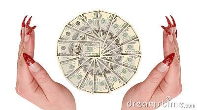 Cientos dólares en manos