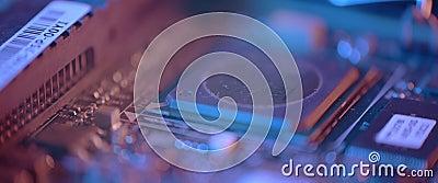 Cierre de la tarjeta de circuitos electrónicos Macro integrada, comunicación almacen de video