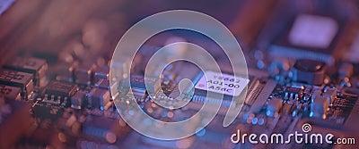 Cierre de la tarjeta de circuitos electrónicos Macro integrada, comunicación metrajes