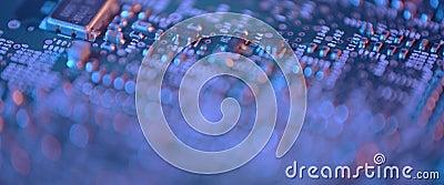 Cierre de la tarjeta de circuitos electrónicos Macro integrada, comunicación almacen de metraje de vídeo