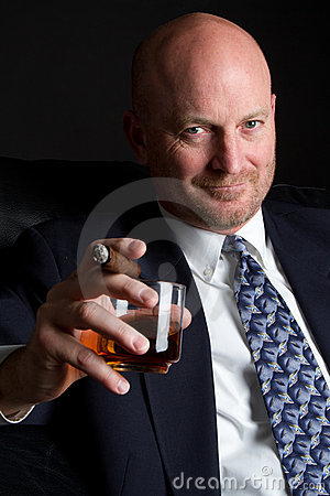 Cigar Businessman Drinking