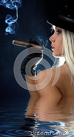 Cigar girl in water #2