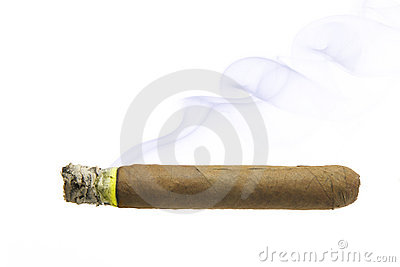 Cigar with smoke isolated
