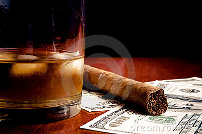 Cigar, whiskey and Dollars
