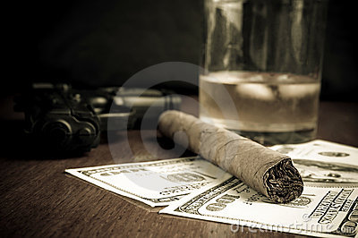 Cigar, Whiskey, Dollars and handgun