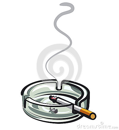 Cigarette in ashtray