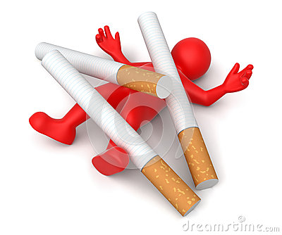 Cigarette beats man (clipping path included)