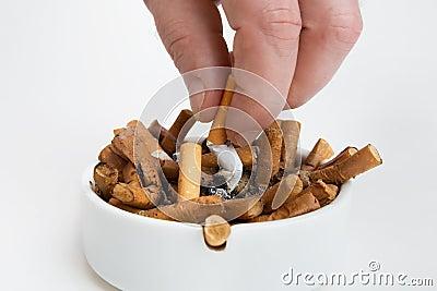Cigarette butt in an ashtray