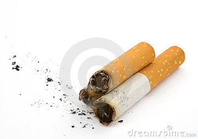 Cigarette butts and ash