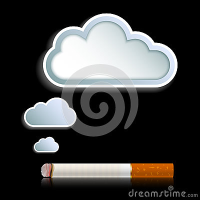 Cigarette with cloud of smoke