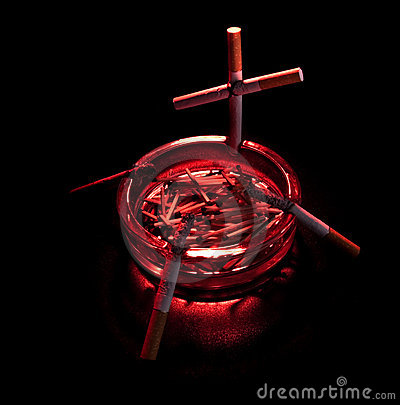 Free Cigarette Cross In Ashtray Royalty Free Stock Photography - 13305467