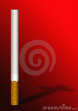 Free Cigarette Cross Shadow On Red Royalty Free Stock Photography - 1985607