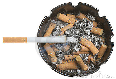 Cigarette in Dirty Ashtray