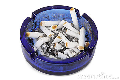 Cigarette ends in blue ashtray isolated