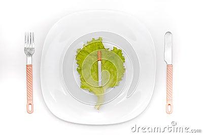 Cigarette On Dinner Plate