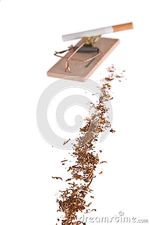 Cigarette in mousetrap