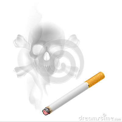 Cigarette and Skull shaped smoke