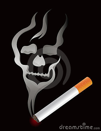 Cigarette with skull smoke shape