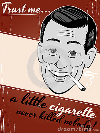 Cigarette smoking cartoon man