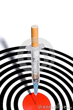 Cigarette syringe in target