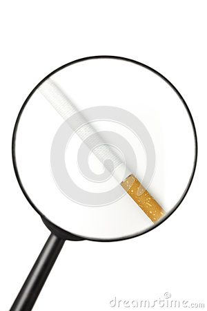 Free Cigarette Viewed Through Magnifying Glass Stock Photos - 26240653