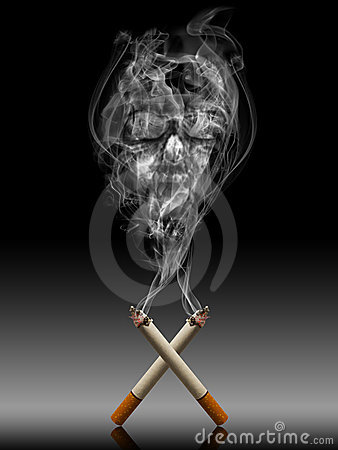 Free Cigarette With Deadly Smoke - Tabac Kills Life Con Stock Photography - 10870452