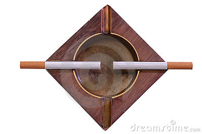 Cigarettes on ashtray. Isolated