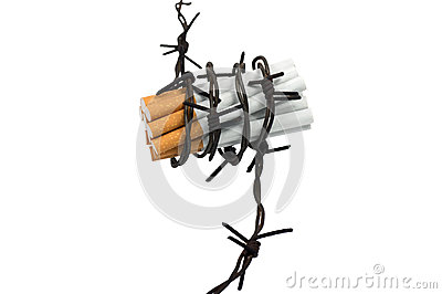 Cigarettes  in barbed wire