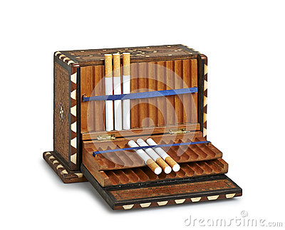 Cigarettes in old box (clipping path )