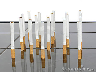 Cigarettes on a table