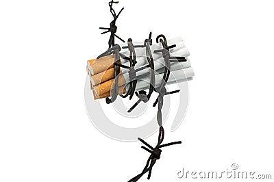 Cigarrillos en alambre de púas