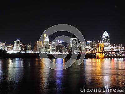Downtown Cincinnati Ohio Skyline at Night