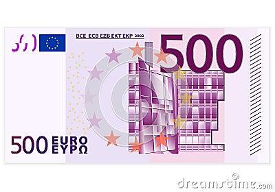 Cinco cem cédulas do euro