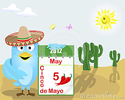 Cinco de Mayo. Blue Bird with a calendar.