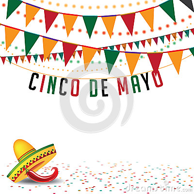 Free Cinco De Mayo Bunting Background EPS 10 Vector Royalty Free Stock Photography - 51842667
