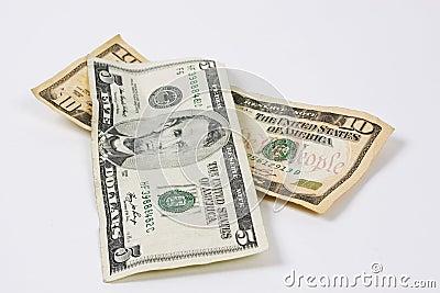 Cinco e dez dólares de contas