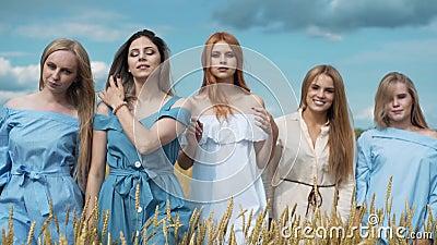 Cinco meninas com cabelo louro longo em um campo do trigo dourado Sorriso, olhando a câmera vídeos de arquivo