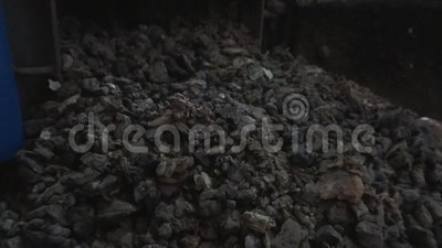Cinder. The ash from an ecological central heating furnace stock video footage