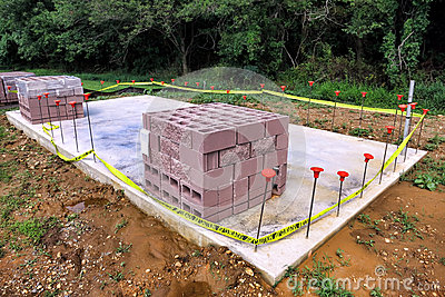 Cinder Block on Concrete Slab at Construction Site