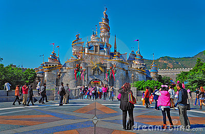 Cinderella castle at disneyland hong kong Editorial Stock Image