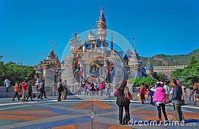 Cinderella castle at disneyland hong kong Editorial Stock Image
