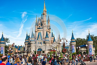 Cinderella Castle at The Magic Kingdom, Walt Disney World. Editorial Stock Photo