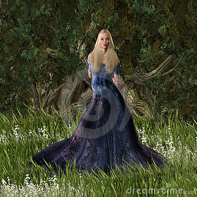 Cinderella Princess Standing in the Forest