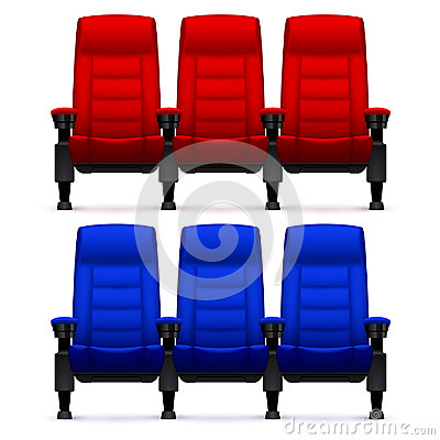 Free Cinema Empty Comfortable Chairs. Realistic Movie Seats Vector Illustration Royalty Free Stock Images - 94658249
