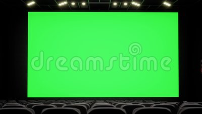 Cinema Interior Of Movie Theatre With Blank Movie Theater Screen With Green Screen And Empty Seats Movie Entertainment Stock Video Video Of Modern Curtain 142559945