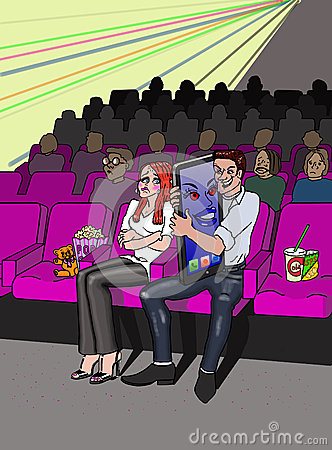 At the cinema with smart phone