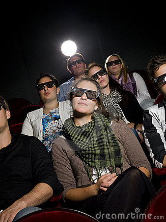 Cinema spectators with 3d glasses