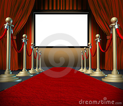 Cinema stage blank curtains red carpet